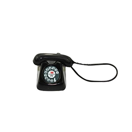 Gbell Mini Telephone Phone Model for 1/12 or 1/6 Scale Miniature Decoration, Kids Girls Dollhouse Accessories Toy (black)