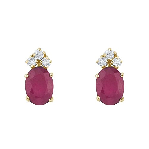 FB Jewels Solid 14k Yellow Gold Studs Genuine Red Birthstone Ruby And Diamond Oval Earrings (3/5 ()