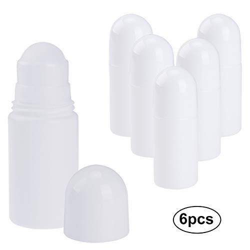 Pretty See Empty Roll-on Bottle Recyclable Anti-perspirant Roller Bottles Refillable Deodorant Container with Roller Ball,50mL,Set of 6