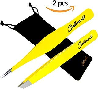 2 PCS - Precision and Slant Tweezers - Best Surgical Grade Stainless Steel Sharp Tweezers for Ingrown Hair Extraction, Eyebrow, Facial and Body Hair Grooming, Splinter, Tick, Hobby. Flat + Needle Nose by Bellesante