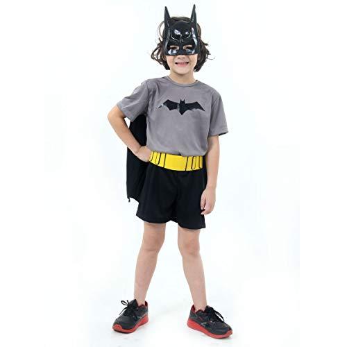 Fantasia Batman Curto Infantil 910170-M, Preto/Cinza, Sulamericana Fantasias