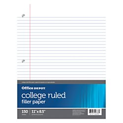 Office Depot Notebook Filler Paper, College-Ruled, 8 1/2in. x 11in., 3-Hole Punched, White, Pack Of 150, 09257OD