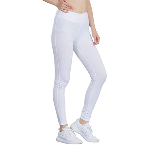 (iHPH7 Capri Leggings for Women Fitness Yoga Pants Reflective Night Run Sports Training Quick-Drying Tight Pants (M,White))