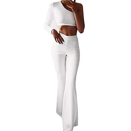 À Jambe Amuster Unie Pour Stretch Couleur Large Blanc Femmes Taille Haute Et Pantalon De 6RFHF5xn