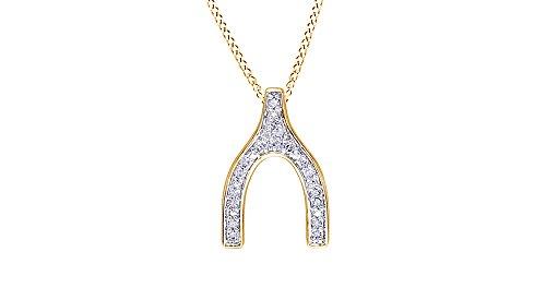 Yellow Gold Diamond Wishbone - 9