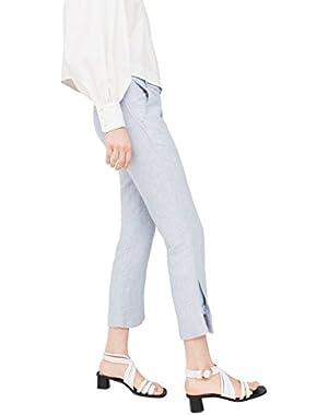 Mango Women's Straight Linen-Blend Trousers!