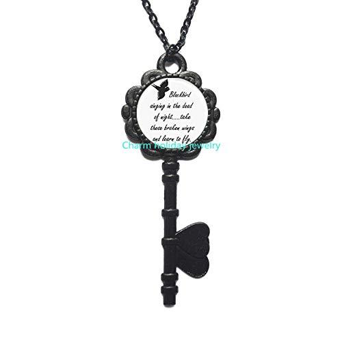 Blackbird Singing in The Dead of Night Key Pendant-Song Lyrics Art Jewelry.D0035 -