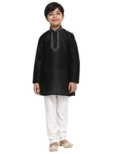 Concepteur Banarsi Dupion en soie mélangée Kurta Churidaar de Royal Sojanya Big Boy, 11 noir