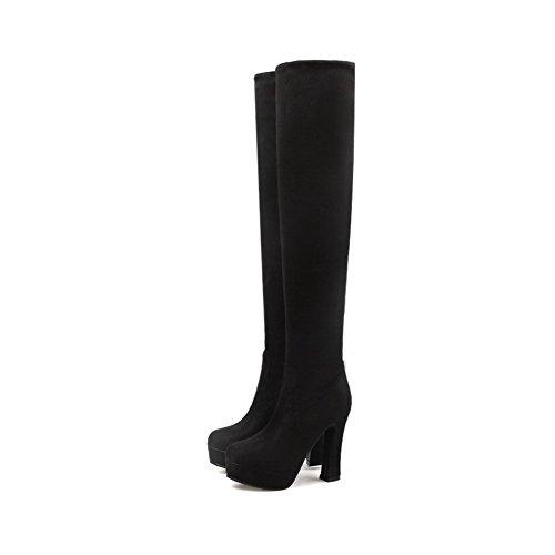 AllhqFashion Damen Mattglasbirne Ziehen auf Hoher Absatz Überknie Hohe Stiefel Stiefel Schwarz