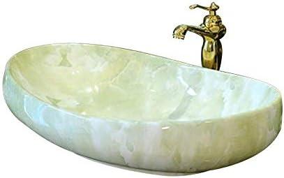 Yadianna バスルームにセラミック洗面台、オーバルカウンター盆地シンク、63X40X15 Cmの耐久性(蛇口は含まれていません)