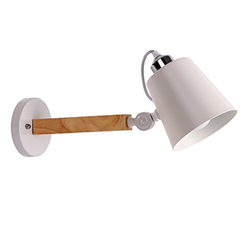 Adjustable Wall Sconces Lamp,Swing Arm,Steel Shade Wall Lamps,Simple Style Night Light - White Steel Shade,LED Lighting by Bellagonia
