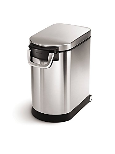 simplehuman Medium Pet Food Storage Can, Brushed Stainless Steel, 25 L, 27 lb/ 12.2 kg