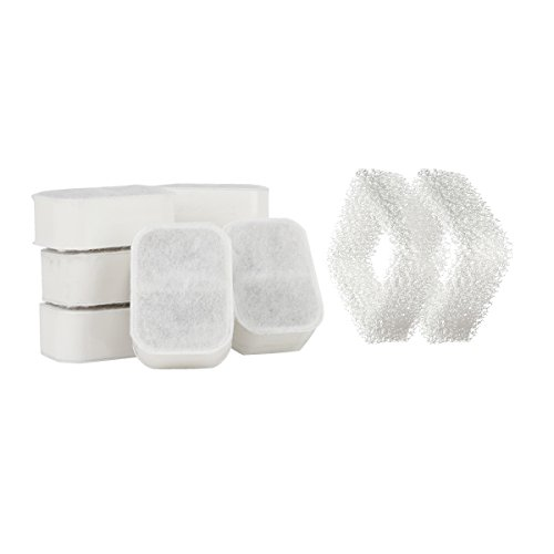 IPETTIE Tritone/Fiumi Ceramic Pet Lotus Pet Water Fountain Replacement Filters, 8PCS Carbon Filters + 2PCS Foam Filters