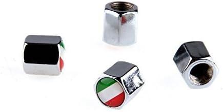 4 x Bouchons coprivalvola soupape auto moto drapeau Italie car coprivalvole M/étal