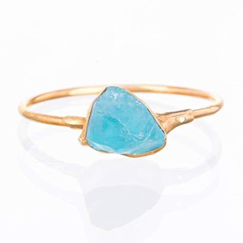 SIZE 8 Raw Crystal Ring, Yellow Gold, Boho Jewelry, Rough Apatite ()