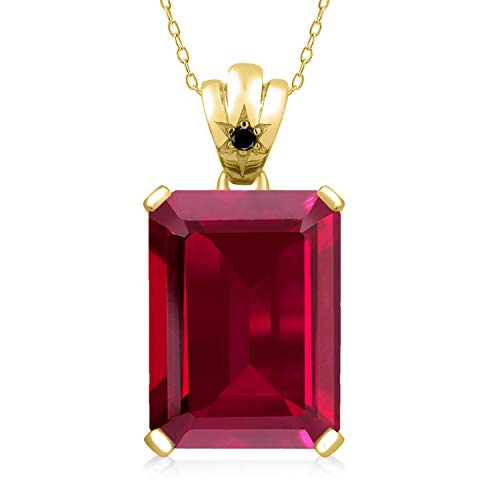 Gem Stone King 1.03 Ct Red Created Ruby Black Diamond 18K Yellow Gold Plated Silver Pendant ()