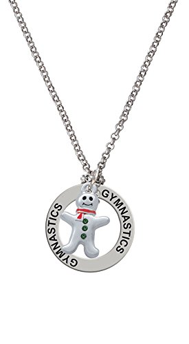 Gingerbread Man with Red Scarf and Green Buttons - Gymnastics Affirmation Necklace
