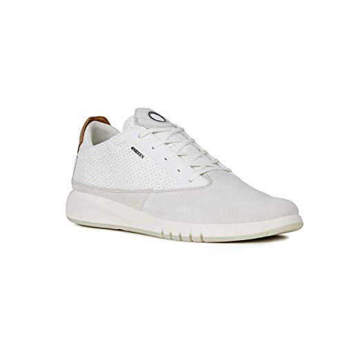 Geox Mens Aerantis Papyrus/White Suede Smooth Leather Sneaker - 43