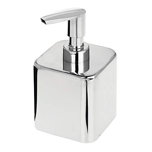 mDesign Small Modern Square Metal Refillable Liquid Hand Soap Dispenser Pump Bottle for Kitchen, Bathroom, Powder Room - Holds Hand Soap, Dish Soap, Hand Sanitizer & Essential Oils - Chrome (Dispenser Bath Soap)