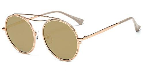 Cramilo CA10K Mirrored Polarized Lens Vintage Round Sunglasses (Matte Gold/Amber, - Best Sunglasses Resistant Scratch