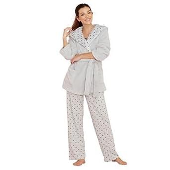 0441b99816 Lounge   Sleep Womens Grey Star Print Cotton Blend Pyjama Set  Lounge    Sleep  Amazon.co.uk  Clothing