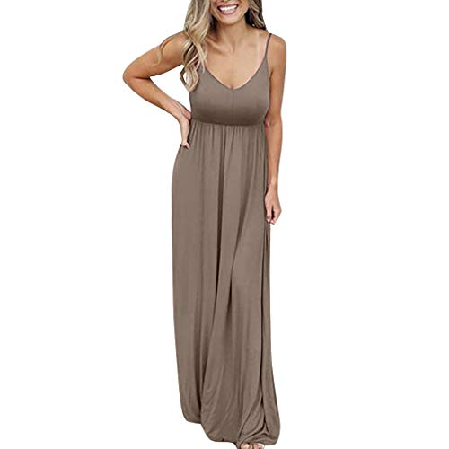 kemilove Women's Casual Maxi Dress Loose Plain Pleated Long Dresses Empire Waist Brown