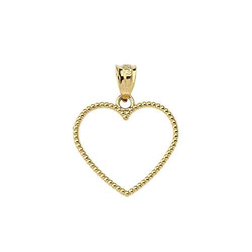 Elegant Two-Sided Beaded Open Heart Charm Pendant (0.9