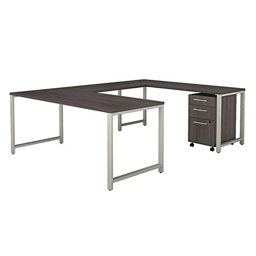 "Thaweesuk Shop New Grey Table U Shaped Computer Desk Study with Gaming 3 Drawer Mobile File Cabinet Rotating Shape Furniture Home Office Corner Writing PC Laptop Workstation Wood 96""L x 72""W x 29.1""H"