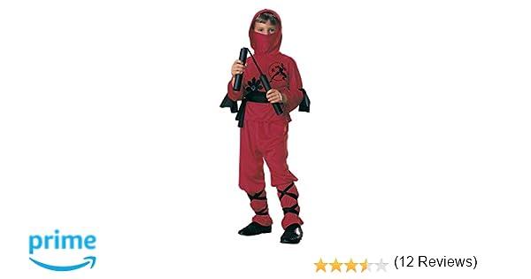 Rubies - Disfraz de ninja para niños, color rojo, 3-4 años (12110-S)