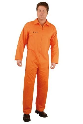 Department Of Correction Costume (Men 1X Department of Corrections Prisoner Costume Jumpsuit (See Size Notes))