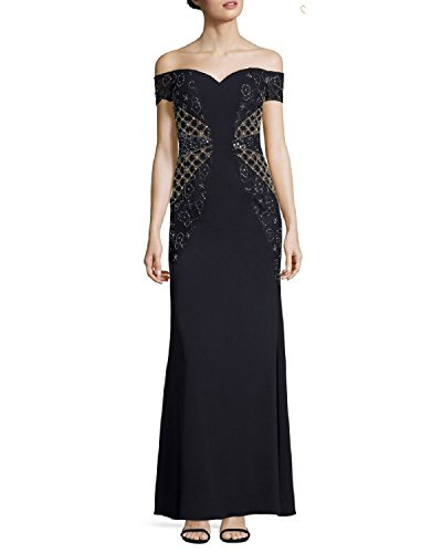 Badgley Mischka Embellished Lace Off Shoulder Evening Gown Dress Navy (Badgley Mischka Long Sleeve Jersey Beaded Gown)