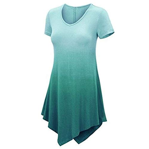 ♡Londony♡ Women's Short Sleeve O-Neck Loose Casual Tee T-Shirt Tops Long Sleeve Button Cowl Neck Tunic Sweatshirt Blouse Green