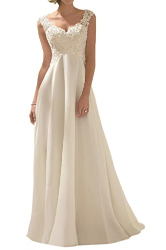 MILANO BRIDE Romantic V-neck Empire-Waist Lace Beach Wedding Dresses 2016-12-Light Ivory (Ivory Lace Empire Waist Dress)