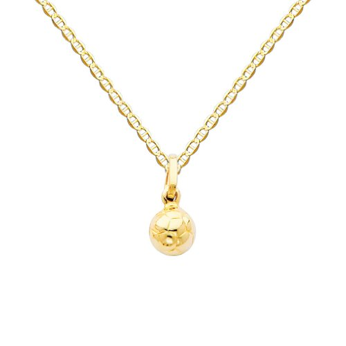 14k Yellow Gold Soccer Ball Charm Pendant with 1.5mm Flat Mariner Chain Necklace - 18