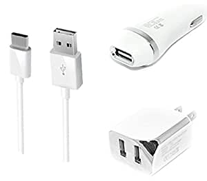 3-in-1 Type-C USB Chargers Bundle for OnePlus 3T, OnePlus 3, OnePlus 2 - (White)- 2.1Ah Car Charger + Home Travel AC Charger Adaptor - (Dual Port) + Type-C USB Cable