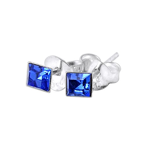 3MM Square Set Blue Sapphire Crystal SEPTEMBER Birthstone 925 Sterling Silver Stud Earrings (Bullet Cartilage Earring compare prices)