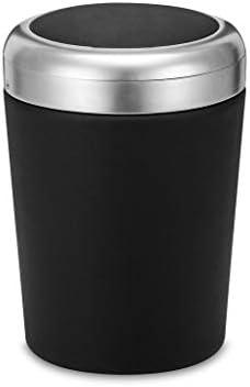 ふた付きの車の灰皿、多機能車の収納タンクプラスチックステンレス鋼ほとんどの車のカップホルダー (Color : 黒)
