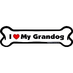 Imagine This I love My Grandog Bone Car Magnet, 2-Inch by 7-Inch