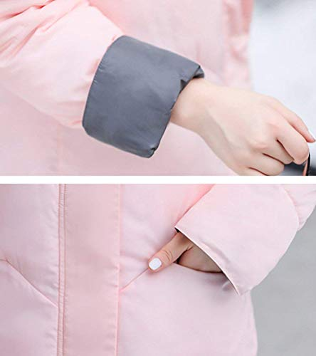 Fit Chaqueta Retro Plumas Manga Elegante Otoño Moda Collar Con Pink Larga Mujer Abrigos Laterales High Pluma Parkas Suave Acolchada Cómodo Slim Invierno Cremallera Bolsillos CqnpRwPt