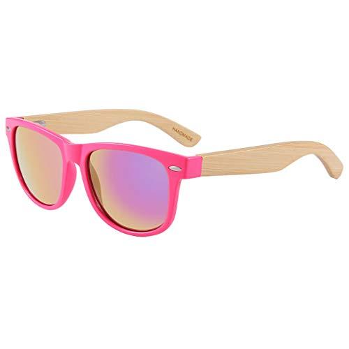 de air Hommes charnière pour Ressort à de Plein Mode colorées réfléchissantes en et Lunettes Soleil Lunettes métal Lunettes soleil en Pink Femmes Couleur Lunettes Bambou avec Red HU0wqO8P