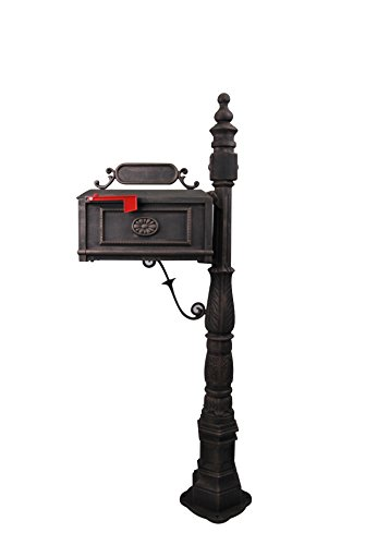 Polar Aurora Barcelona Decorative Post Mailbox Combination Stratford Heavy Duty Postal Mail Box Cast Aluminum(Bronze)