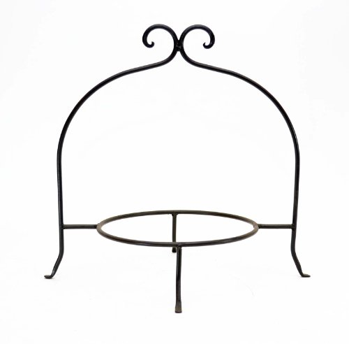 WROUGHT IRON SINGLE TIER PLATE RACK, 8 INCH RING-13 INCHES HIGH (Wrought Iron Dessert)