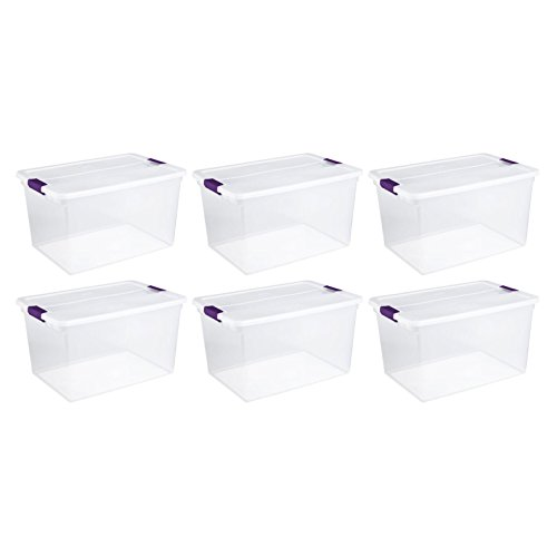 Sterilite 17571706 66 Quart/62 Liter ClearView Latch Box, Clear Lid & Base w/ Sweet Plum Latches, 6-Pack (Base Clear Lid)
