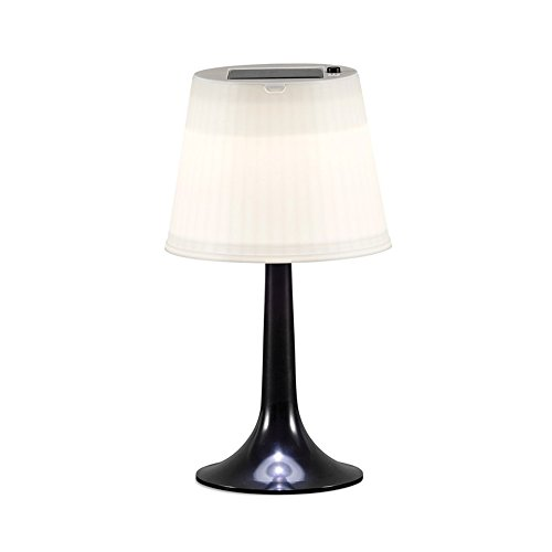 pearlstar Accent Table Lamp Solar Powered LED Basic Desk Table Lamp for Bedroom and Outdoor Dining-table (White Shade + Black Base) by pearlstar