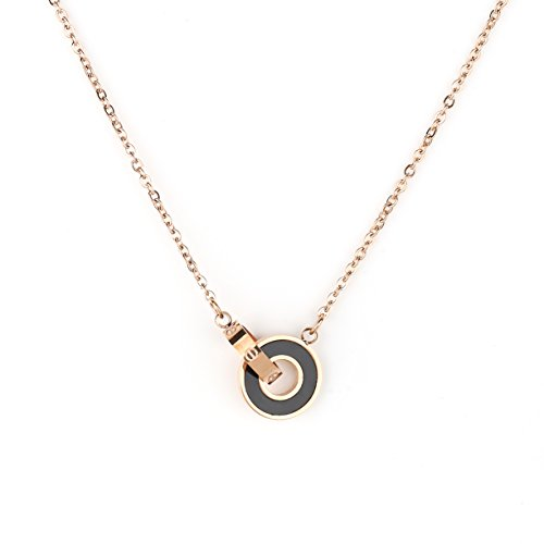 - United Elegance Stylish Rose Gold Tone Designer Necklace with Screw Design & Jet Black Faux Onyx Circular Pendants