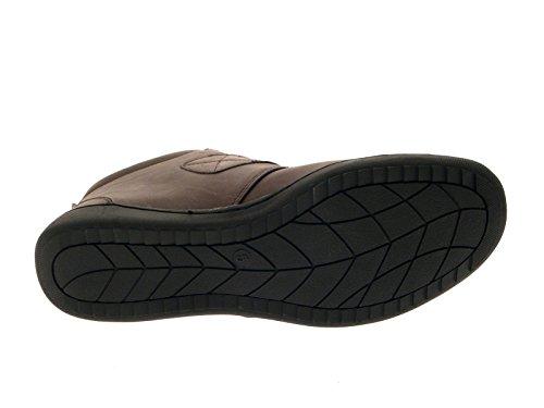 Lora Dora Womens Comfortable Flat Chelsea Boots Velcro - Brown D8bJcKe