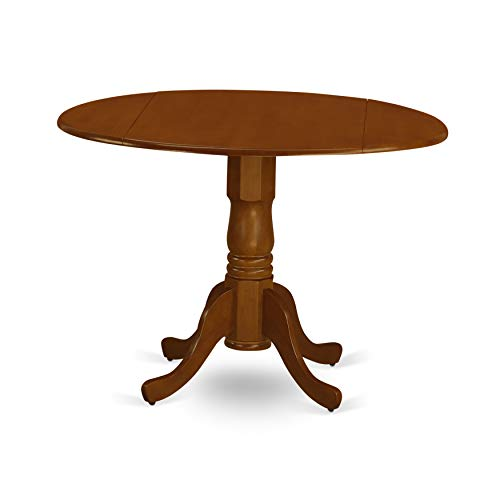 East West Furniture DLT-SBR-TP Round Table with Two 9-Inch Drop Leaves, Saddle Brown Finish from East West Furniture
