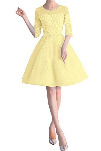 Spitze Kleider La Braut Damen Marie Jugendweihe Wassermelon Lang Gelb Cocktailkleider mit Abendkleider Aermel raPwf0apq