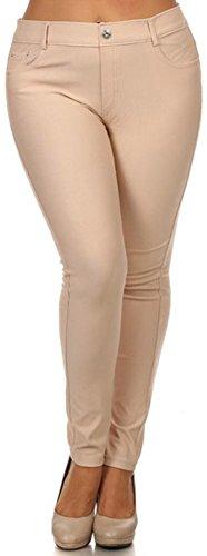 EPYA Women's Plus Size Basic 5 pocket colored Jean Leggings, Camel, XL