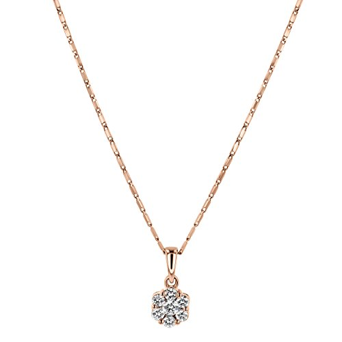 Olivia Paris 14k Rose Gold 1/4 Carat ctw (H-I, I1) Diamond Tiny Flower Necklace, 18